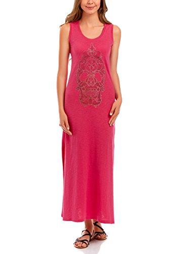 oodji Ultra Damen Maxi-Kleid mit Strass-Totenkopf, Rosa, DE 32 / EU 34 / XXS - Maxi-kleid Xxs