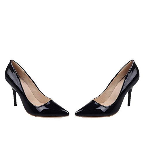 VogueZone009 Femme Tire Pointu Stylet Couleur Unie Chaussures Légeres Noir