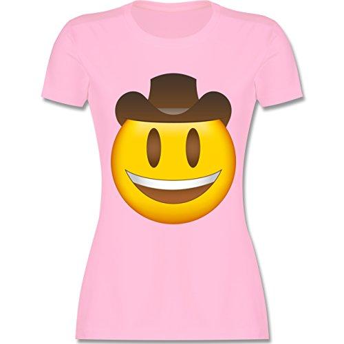 Comic Shirts - Emoji Cowboy-Hut - S - Rosa - L191 - Damen T-Shirt Rundhals (Rosa T-shirt Cowboy Damen)