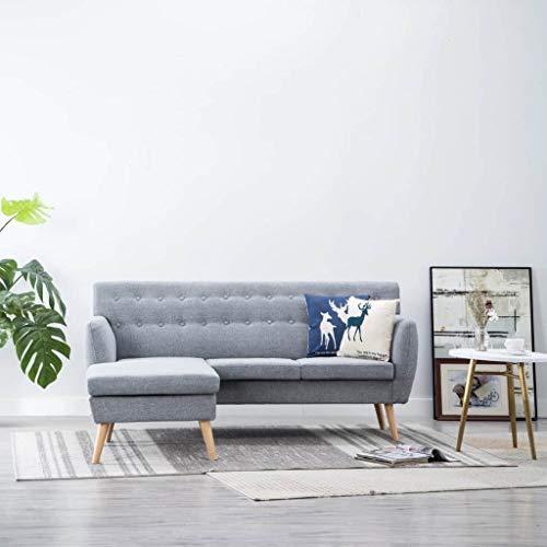 Festnight Sillas Salon Sofá Moderno Forma de L Tapizado de Tela Gris Claro 171,5x138x81,5 cm