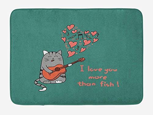 CHKWYN I Love You More Bath Mat, Cartoon Singing Cat with Guitar More Than Fish Song Music Notes and Hearts, Plush Bathroom Decor Mat with Non Slip Backing, 23.6 W X 15.7 W Inches, Multicolor - Oriental Fish Bowl