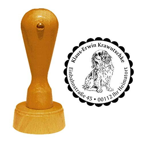 """Stamp Address Stamp""""English Toy Spanish"""" Diameter Approx. Diameter 40 mm – with Personal Address, Motif and Decorative Edge – Dog Breed England King Charles Spaniel"""