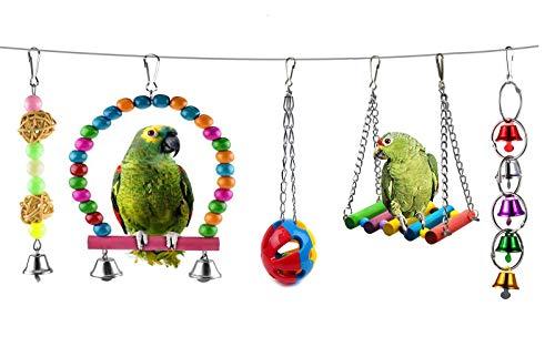 Giochi per Uccelli,5 Pezzi Giocattolo per Uccello Pappagalli Altalena Pappagallo Gabbie per Pappagalli Gabbia per Uccelli Trespolo Decorazione Colorato Uccello da Masticare Appesa Giocattoli