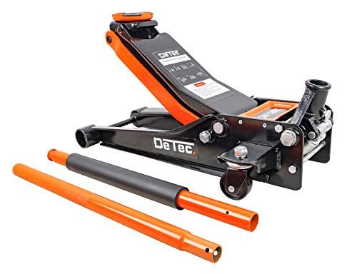 DeTec. DT-3TWH hydraulischer Wagenheber 3t - 3 Tonnen - orange | Rangier-Autoheber flach | Doppelkolbenantrieb (Einschubtiefe 75 mm, maximale Höhe 500 mm, Tragkraft 3000 kg, Pumpstange Länge: 1150 mm)