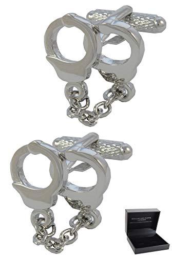 COLLAR AND CUFFS LONDON - Boutons de Manchette avec Boite-Cadeau - Grand Qualité - Menottes et Chaîne - Laiton - Couleur Argent - La Criminalité Polic