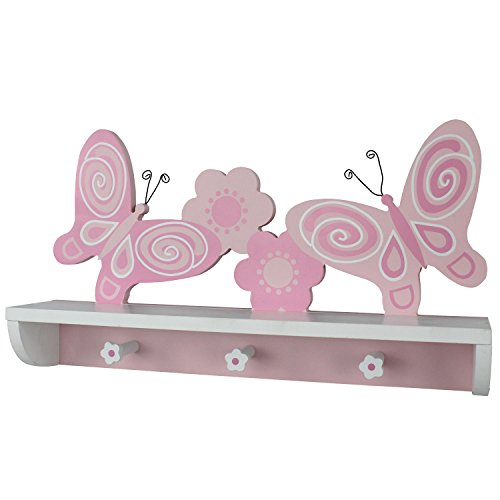 Hoddmimis Home & Living 3 Peg Hooks Wall Mounted Coat Rack MDF with Shelf (Butterfly Graphics)