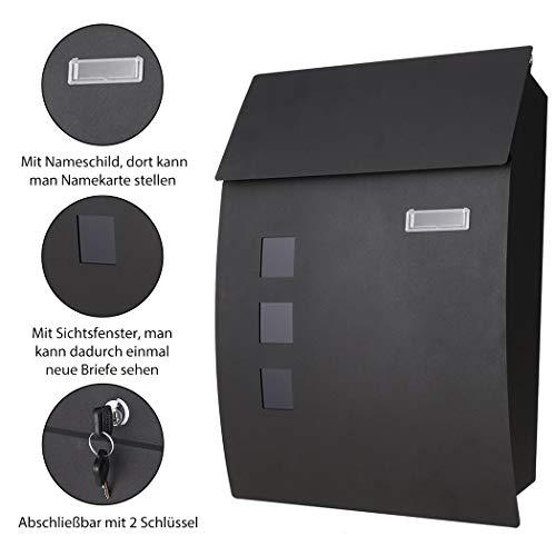 Preisvergleich Produktbild Briefkasten Postkasten mit Zeitungsrolle und Sichtsfenster; Nameschild Abschließbar mit 2 Schlüssel (schwarz 23)