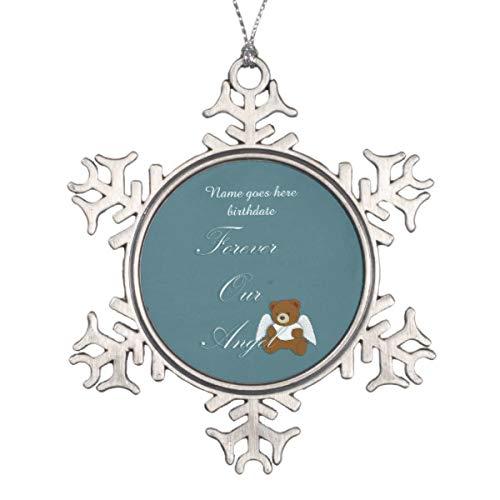 Vehfa Decorations Personalisiertes Ornament für Ewiger Engel, Schwangerschaft und Säuglingsverlust, Schneeflocke, Zinn