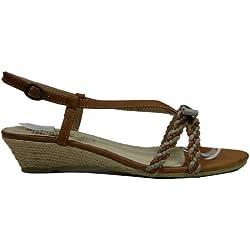Damen Sandaletten mit Keilabsatz Sommer Sandale (36, camel-grau)