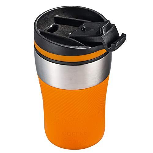 Thermobecher to go - passt unter jeden gängigen Kaffeeautomat Farbe orange, silber