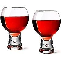 Durobor Alternato Wine Glasses 19oz/540ml - Pack of 2 | Red Wine Glasses, Short Stem Glasses, Bubble Base Glasses from