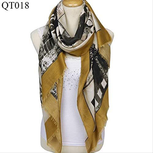 SHALU Satin Warm Scarf Nueva bufanda de algodón puro Chal 180 * 90Cm Cúrcuma