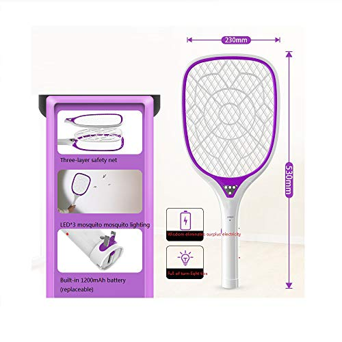 LZK Haushalts-Mesh-Oberfläche elektrische Moskito-Klatsche, LED-Lampe elektrisch Elektrische Moskito-Klatsche, leistungsstarke elektrische Fliegenklatsche/lila/Als Zeigen