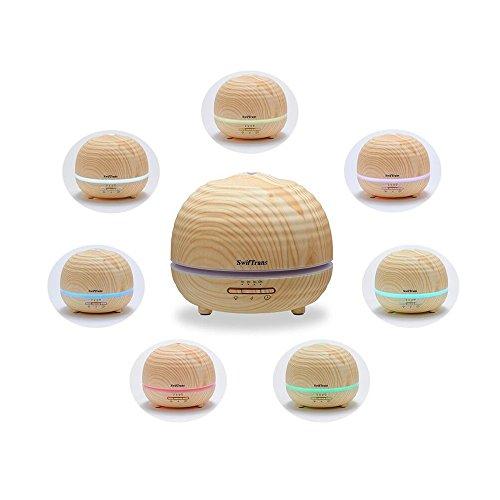Swiftrans Aroma Diffuser 300ml Ultraschall Luftbefeuchter Humidifier Öl Diffuser mit 7 Farben Led Licht 4 Timer-Einstellungen Holzmaserung für Yoga Zimmer Haus Büro usw.