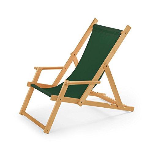 Chaise longue de jardin en bois, Transat, Chaise longue relax de plage, chaise longue avec accoudoirs. vert