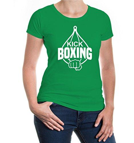 buXsbaum® Girlie T-Shirt Kickboxing Kellygreen-White
