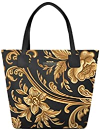 alviero rodriguez Borsa Shopper Barocco Arte Gold Oro in Ecopelle 451f9c13363