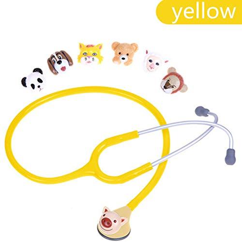 Honey Stethoskop, Tierkopfstethoskop, Süße Form, Guter Leitungseffekt, 6 Tierkopfformen,Yellow