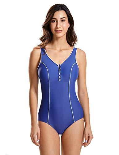 e07fdc1295c8 Delimira - Bañador Escote en V Traje de Baño de Una Pieza para Mujer Azul  Oscuro