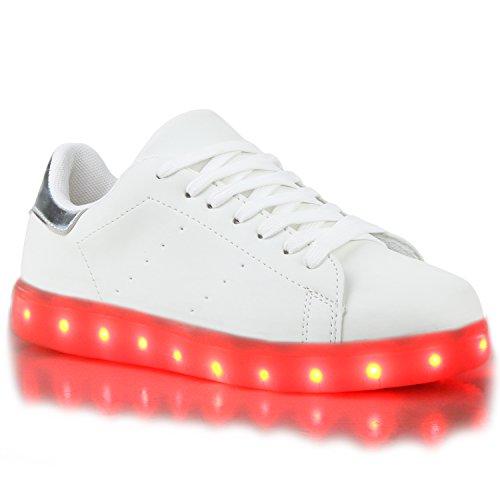 Sofort lieferbar aus DE - Leuchtende und Blinkende Damen Herren Kinder Mädchen Jungen Sneakers High und Low Led Light Farbwechsel Schuhe LED Licht Weiss Silber LEDs