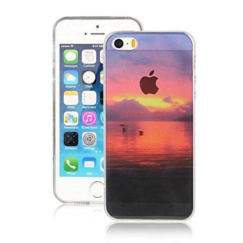 MOONCASE iPhone 5 Coque, Ultra Mince Motif Etui TPU Silicone Antichoc Housse Case pour iPhone 5 / 5s / SE (Paysage 10) Paysage 10