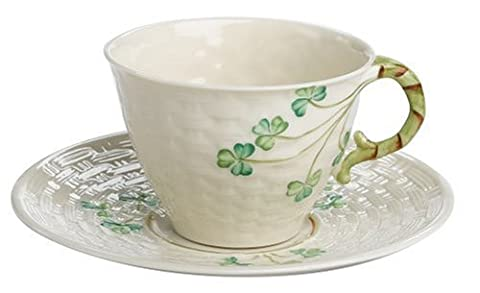 Belleek Shamrock Irish Tea Cup & Saucer Set
