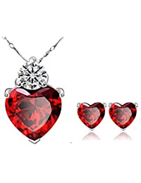 Womage 925 Silver Plated Red Crystal Heart Necklace And Earring Set For Women & Girls - Jewl-27