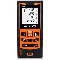 Suaoki S9 - 100m Telémetro láser, Medidor láser Metro láser de ±1.5mm Alta Precisión (Medidión individual, continua, min/max, área, volumen, pitágoras para la altura y área triangular, adición y sustracción)