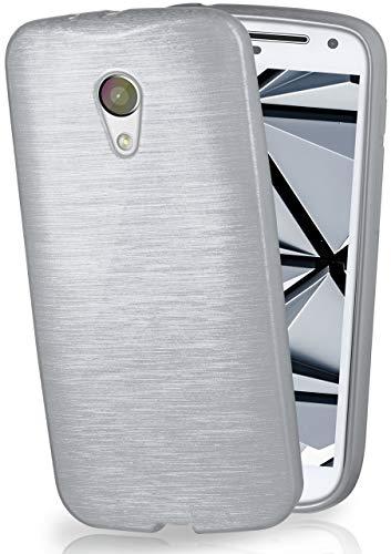 moex Motorola Moto G2   Hülle Silikon Silber Brushed Back-Cover TPU Schutzhülle Ultra-Slim Handyhülle für Motorola Moto G 2. Generation Case Dünn Silikonhülle Rückseite Tasche