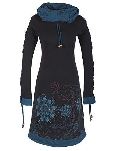 Vishes -Alternative Bekleidung - Bedrucktes Langarm Damen Blumen Kleid mit Schalkragen und Schnüren schwarz 38