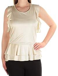 5c2aafdcc Catherine Malandrino Womens Beige Sleeveless Scoop Neck Top Size: M