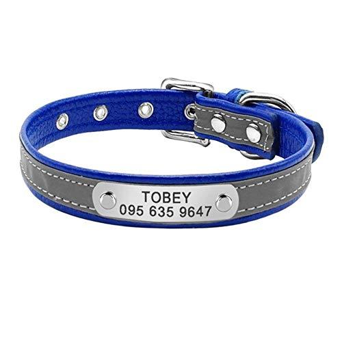 e personalisierte Hundehalsband Leder Hund Katze ID Kragen benutzerdefinierte gravierte Welpen Typenschild Kragen für kleine Haustiere Katzen, blau, S ()