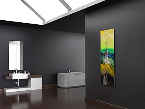 Wandheizung Vernissage Design 23: green gysir, HxB: 180 x 47 cm, 1118 Watt, Acryl für Wohnraum und Bad (handgemaltes Unikat, Wandbild als Wohnraum-Heizkörper, Badheizkörper Mittelanschluss)
