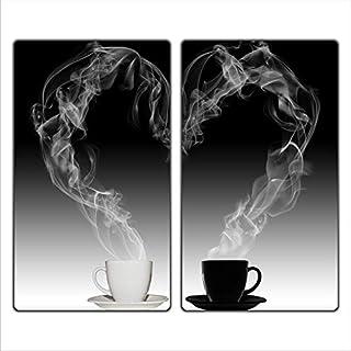 FTB Gsmarkt   Herdabdeckplatten Schneidebrett Spritzschutz Set 2x30x52   Bild auf Glas   Sicherheitsglas Gehärtetes Glas Bild   Motiv Kaffee