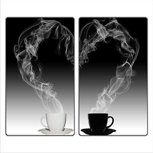 FTB Gsmarkt | Herdabdeckplatten Schneidebrett Spritzschutz Set 2x30x52 | Bild auf Glas | Sicherheitsglas Gehärtetes Glas Bild | Motiv Kaffee