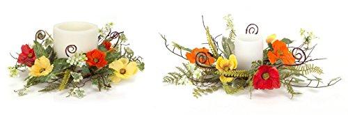Melrose International Orange, und Gelb Poppy Kerze Ringe, 40,6cm/43cm, Set von 2 - Melrose Ring