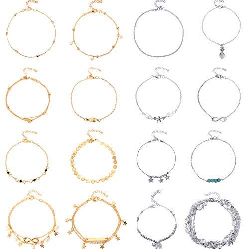16 Stück Strand Knöchel Armbänder Verstellbare Fußkettchen Boho Knöchel Ketten Fuß Schmuck Set für Damen Mädchen (Silber und Gold 2)