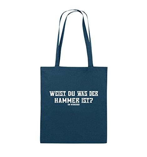 Comedy Bags - WEIST DU WAS DER HAMMER IST? - Jutebeutel - lange Henkel - 38x42cm - Farbe: Schwarz / Pink Navy / Weiss