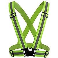 Correa reflectante Chaleco de noche corriendo con correa ajustable y agujeros transpirables chaleco de seguridad ligero ultrafino para corriendo footing / ciclismo / senderismo / caminando (verde) 1 PC