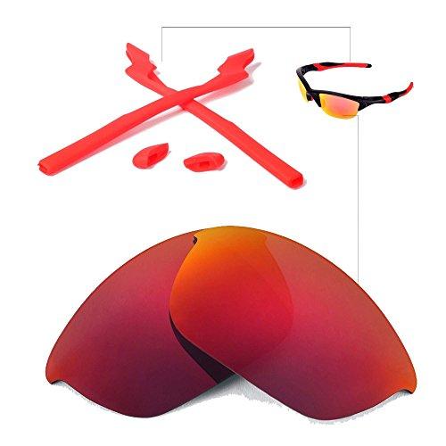 Walleva Wechselgläser Und Earsocks für Oakley Half Jacket 2.0 Sonnenbrille - Mehrfache Optionen (Feuerrot Polarisierte Linsen + Roter Gummi)