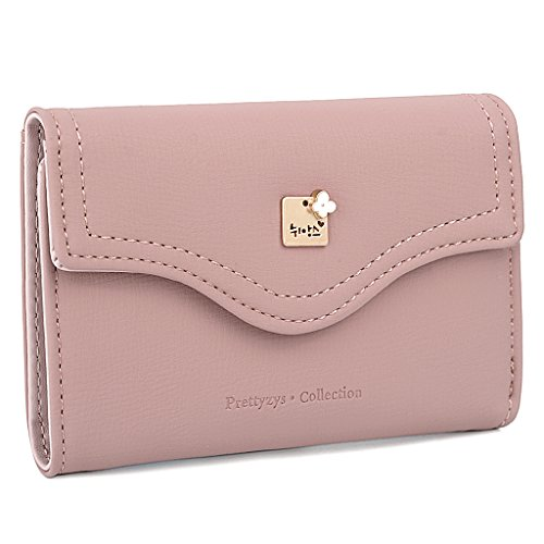 UTO Damen PU Leder Portemonnaie Geldbörse Karte Halter Organizer Mädchen Cute Purse with Snap Closure Pink- (Snap Leder Pink)