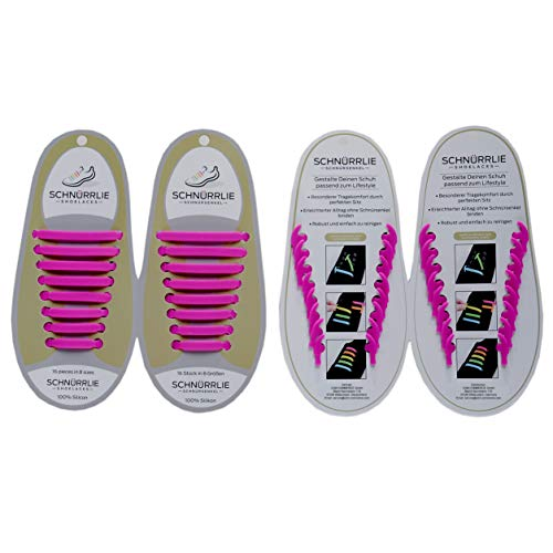 SCHNÜRRLIE Elastische Silikon Schnürsenkel - Der perfekte Schnürbänder Ersatz für Sneaker Turnschuhe Sportschuh (16 Stück Beere) -