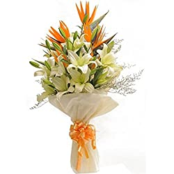 Flower Co Hand Bunch Bouquet (White Orange Green)