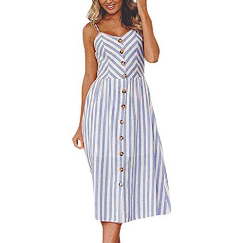 Vestidos de Mujer, ASHOP Vestido Verano 2018 Sin Mangas Casual Ajustados T-Shirt Vestido Coctel Fiesta Largo Dress Raya Boho Playa Falda Elegantes en Oferta Baratos (XXXL, Azul)