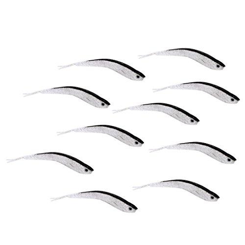 MagiDeal 10 Stk. Grau Fischhaken Köder für Hecht Barsch Zander Angeln, Fliegenfischen - 7,5 cm (Barsch Fliegenfischen)