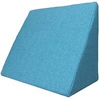 Almohada en forma de cuña, Soporte para la espalda en la cama, sala o el sofá / Almohada para leer o ver televisión Medidas: 60 x 50 cm, Altura: 30 cm - Turquesa