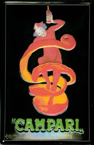 affiche-metallique-avec-campari-harlequin-aperitif-de-clown-metal-style-plaque
