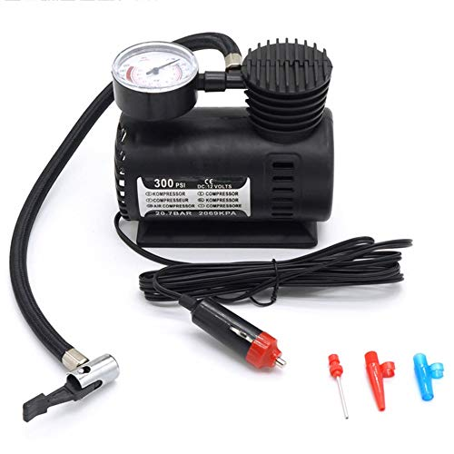 Mini Luftkompressor Elektropumpe ABS Automotive Durable Vehicle Luftpumpe 300 PSI Reifenfüller Pumpe DC 12V Autoteile - Schwarz