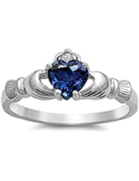 Bague Claddagh en Argent fin - Zircon Saphire Bleu