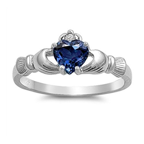 Sterlingsilber Claddagh Ring - Blauer Saphir Zirkonia (Gold Claddagh-ring Mit Opal)